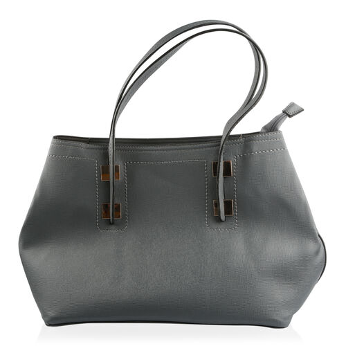 Set of 2 - Grey Colour Large and Small with Adjustable and Removable Shoulder Strap Tote Bag (Size 47x27x17 Cm, 33x21x13.5 Cm)