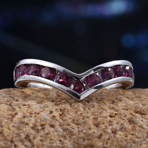 Rare Mozambique Grape Colour Garnet (Rnd) Heart Wishbone Ring in Platinum Overlay Sterling Silver 1.150 Ct.