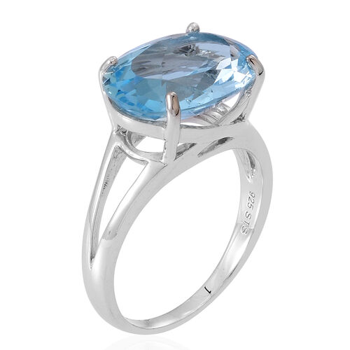 Sky Blue Topaz (Ovl) Ring in Rhodium Plated Sterling Silver 11.500 Ct.