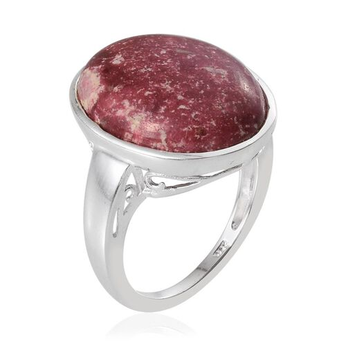 Norwegian Thulite (Ovl) Ring in Sterling Silver 18.750 Ct.