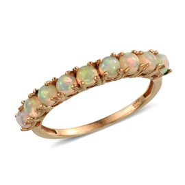 AA Ethiopian Welo Opal (Rnd) Half Eternity Ring in 14K Gold Overlay Sterling Silver 1.000 Ct.