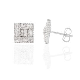 9K W Gold SGL Certified Diamond (Rnd) (I 3/G-H) Stud Earrings (with Push Back) 0.500 Ct.