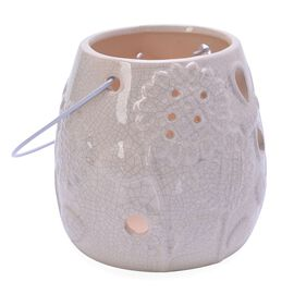 White Colour Sunflower Pattern Ceramic Lantern