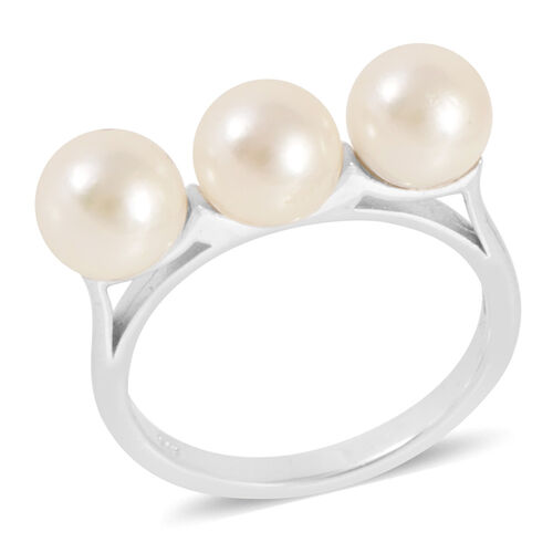 Japanese Akoya Pearl (Rnd) Trilogy Ring in Platinum Overlay Sterling Silver