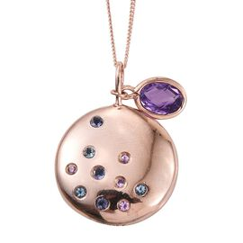 Kimberley Amethyst (Ovl), Iolite, Espirito Santo Aquamarine and Pink Sapphire Pendant With Chain in Rose Gold Overlay Sterling Silver
