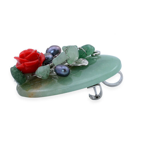 Green Aventurine and Fresh Water Peacock Pearl Brooch or Pendant with Stainless Steel Chain in Silver Tone with Simulated Stone