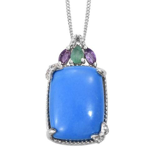 Ceruleite (Cush 7.50 Ct), Kagem Zambian Emerald, Amethyst and Natural Cambodian Zircon Pendant With Chain in Platinum Overlay Sterling Silver 8.000 Ct.