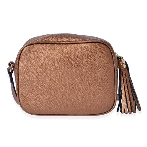YUAN Collection Chocolate Colour Crossbody Bag with Tassels and Adjustable Shoulder Strap (Size 21x17x9 Cm)