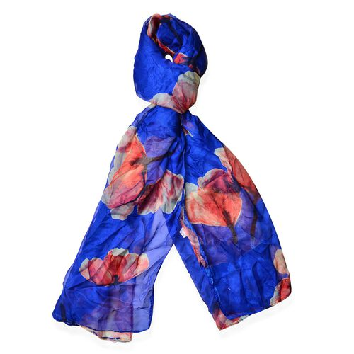 Dark Blue and Multi Colour Floral Pattern Scarf (Size 170 x70 Cm)
