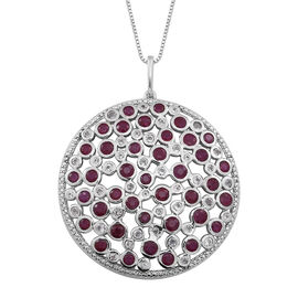 Burmese Ruby (Rnd), White Topaz Pendant With Box Chain (Size 24) in Rhodium Plated Sterling Silver 7.020 Ct.