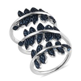 Blue Diamond (Rnd) Spiral Ring in ION Plated Platinum Bond