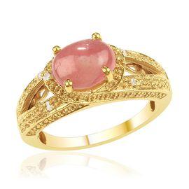 Argentinian Rhodochrosite (Ovl 2.75 Ct), Diamond Ring in Gold Bond 2.800 Ct.