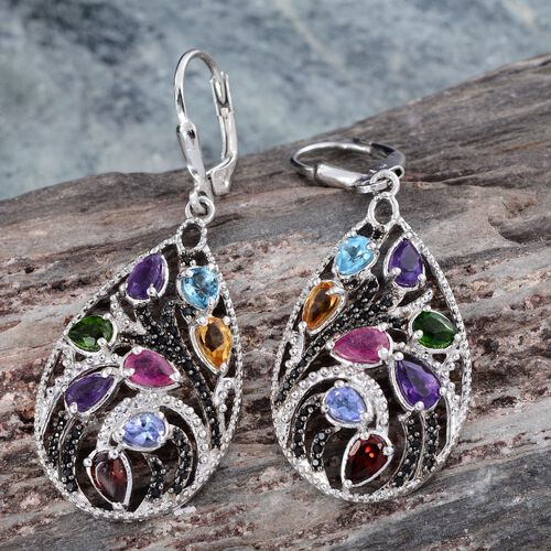 GP Lusaka Amethyst, Citrine, Mozambique Garnet, Russian Diopside, Electric Swiss Blue Topaz, Tanzanite and Multi Gem Stone Earrings in Platinum Overlay Sterling Silver 4.550 Ct.