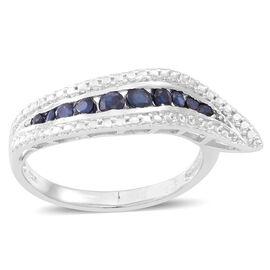 Kanchanaburi Blue Sapphire (Rnd) Ring in Rhodium Plated Sterling Silver 0.750 Ct.