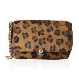 100% Genuine Leather Leopard Pattern Beige Colour  Hetre Bag (Size 25x18 Cm)