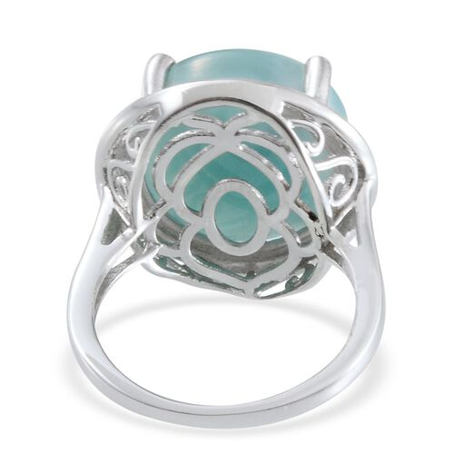 Larimar (Rnd) Solitaire Ring in Platinum Overlay Sterling Silver 15.000 Ct.