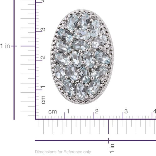 Espirito Santo Aquamarine (Ovl), Natural Cambodian Zircon Pendant in Platinum Overlay Sterling Silver 4.000 Ct.