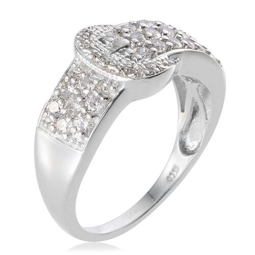 J Francis - Platinum Overlay Sterling Silver (Rnd) Buckle Ring Made With SWAROVSKI ZIRCONIA 1.016 Ct.