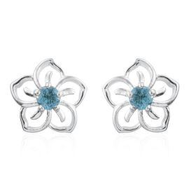 Paraiba Apatite (Rnd) Floral Stud Earrings (with Push Back) in Sterling Silver 0.500 Ct.