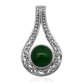 Royal Bali Collection Chinese Green Jade (Rnd) Solitaire Pendant in Sterling Silver 7.120 Ct.