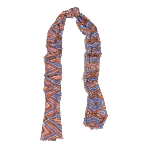 NEW FOR SEASON - Hand Screen Printed Pink and Multi Colour Printed Scarf (Size 180x55 Cm)