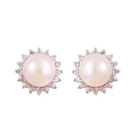 9K Y Gold Japanese Akoya Pearl (Rnd 6.40mm), White Sapphire Stud Earrings (with Push Back)