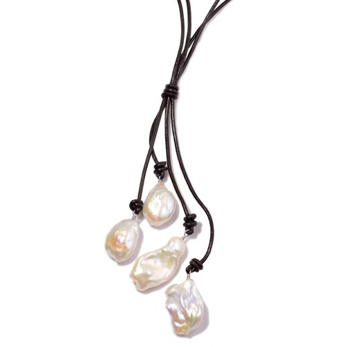 (Option 2) White Keshi Pearl Necklace (Size 20) in Sterling Silver with Leather Cord