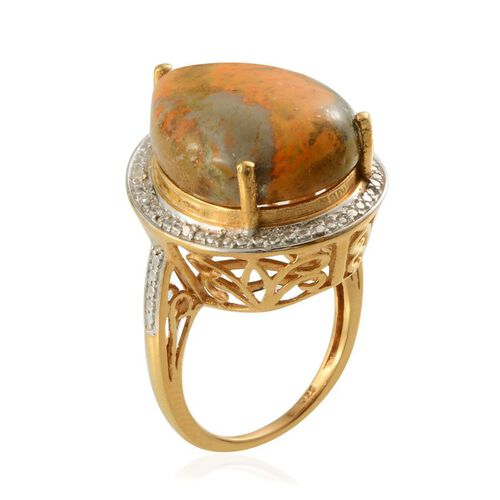 Bumble Bee Jasper (Pear 10.50 Ct), Diamond Ring in 14K Gold Overlay Sterling Silver 10.520 Ct.