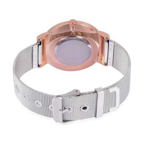STRADA Japanese Movement Pink Stardust and White Dial Water Resistant Watch in Rose Gold Tone with Stainless Steel Back and Chain Strap