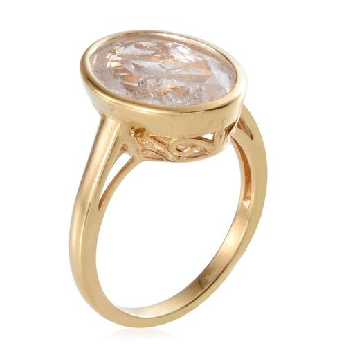 White Crackled Quartz (Ovl) Solitaire Ring in 14K Gold Overlay Sterling Silver 6.000 Ct.