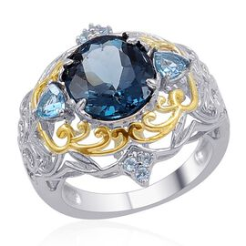 London Blue Topaz (Ovl 7.00 Ct), Electric Blue Topaz Ring in 14K YG and Platinum Overlay Sterling Silver 7.890 Ct.