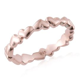 Forever Love Heart Silver Stacker Ring in Rose Gold Overlay, Silver wt 3.05 Gms.