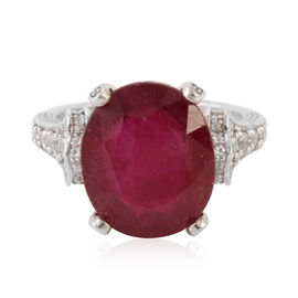 African Ruby (Ovl 10.07 Ct), White Topaz Ring in Rhodium Plated Sterling Silver 11.020 Ct.