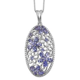 Tanzanite (Ovl) Floral Pendant With Chain in Platinum Overlay Sterling Silver 2.500 Ct.