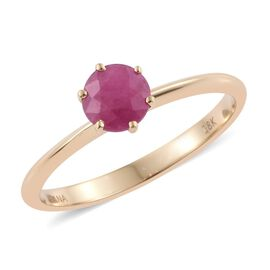 ILIANA 18K Yellow Gold 1 Carat AAA Burmese Ruby Solitaire Ring