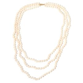 Designer Hand Knotted 9K Y Gold AAA Japanese Akoya Pearl 3 Strand Necklace (Size 18-22-24 inch)