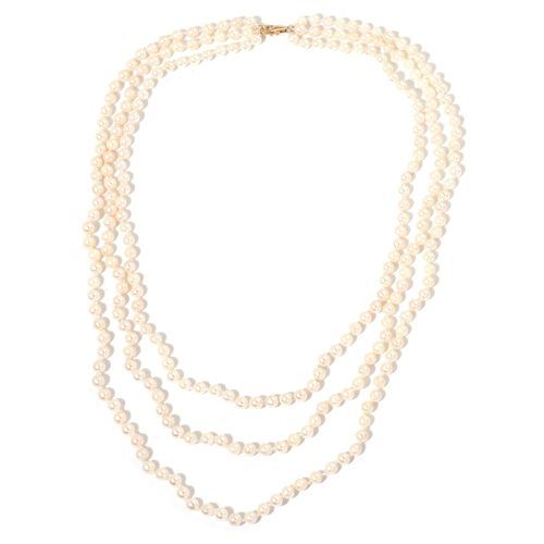 Designer Hand Knotted 9K Y Gold AAA Japanese Akoya Pearl (4-5mm) 3 Strand Necklace (Size 18-24 inch)