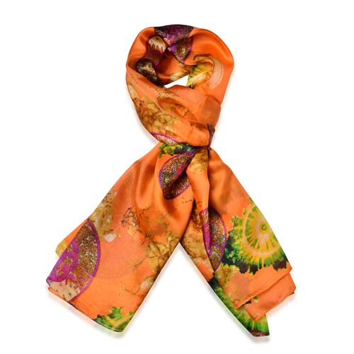 100% Mulberry Silk Orange and Multi Colour Scarf (Size 180x110 Cm)