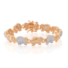 ELANZA AAA Simulated White Diamond (Rnd) Elephant Bracelet (Size 7.5) in 14K Gold Overlay Sterling Silver