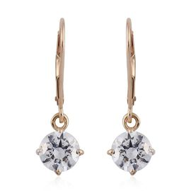 9K Yellow Gold Lever Back Earrings Made with SWAROVSKI ZIRCONIA