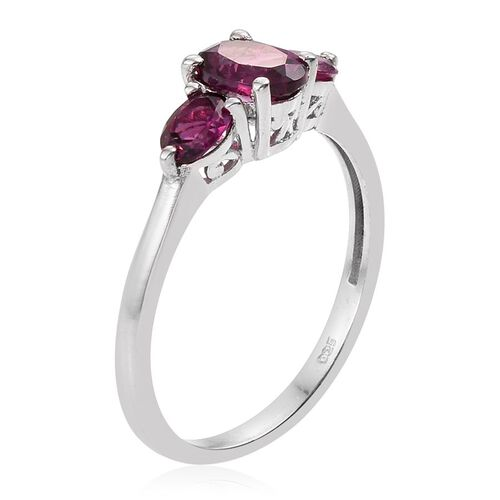 Rare Mozambique Grape Colour Garnet (Ovl 1.00 Ct) Ring in Platinum Overlay Sterling Silver 1.750 Ct.