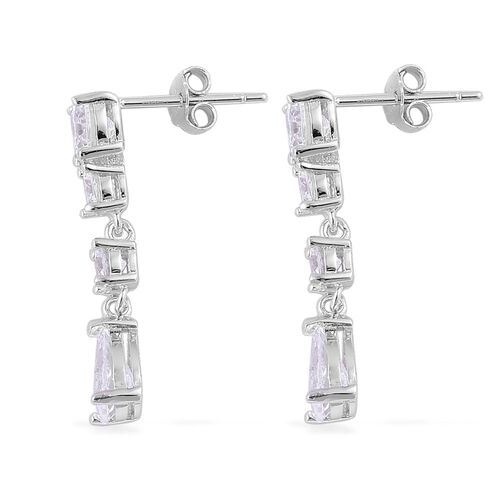 ELANZA AAA Simulated White Diamond Earrings (with Push Back) in Rhodium Plated Sterling Silver