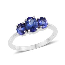 ILIANA 18K White Gold 1.50 Carat AAA Tanzanite Oval Trilogy Ring.