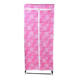 DOD - Red Colour Floral Pattern Foldable Wardrobe (Size 150x58x45 Cm)