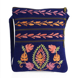 Suede Leather Look Multi Colour Hand Embroidered Sling Bag with External Zipper Pocket and Shoulder Strap (Size 26x22 Cm)