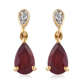 African Ruby (Pear), Natural Cambodian Zircon Earrings (with Push Back) in 14K Gold Overlay Sterling Silver 2.250 Ct.
