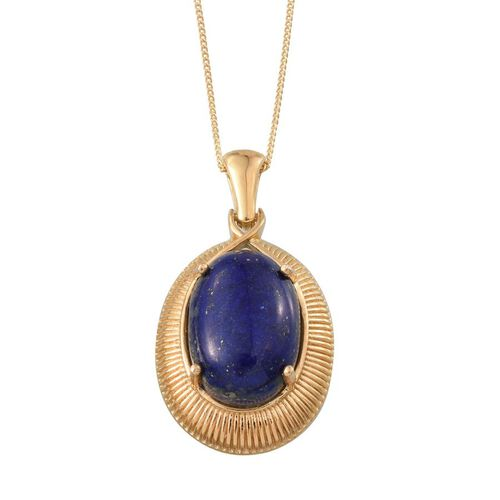 Lapis Lazuli (Ovl) Pendant With Chain in 14K Gold Overlay Sterling Silver 14.000 Ct.