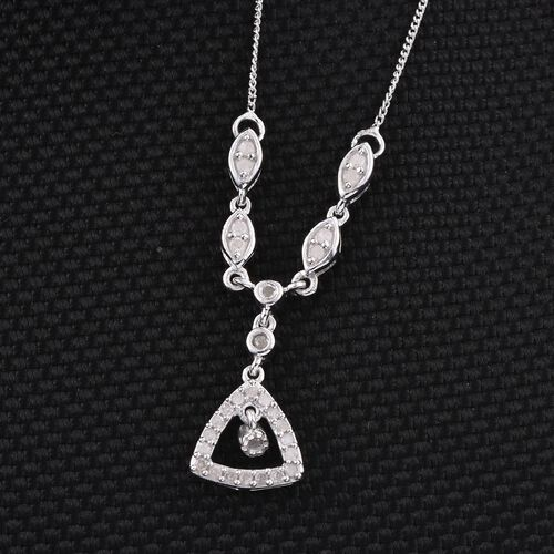 Diamond 0.30 Carat Silver Necklace (Size 20) in Platinum Overlay.