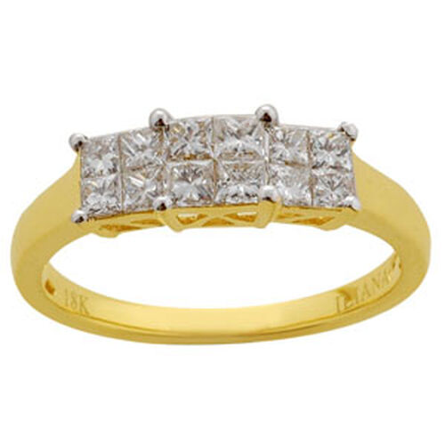 ILIANA 18K Y Gold Diamond (Sqr) Ring 0.750 Ct.