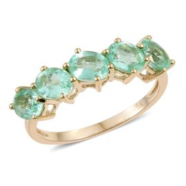 9K Yellow Gold 1.50 Carat Boyaca Colombian Emerald Oval 5 Stone Ring.